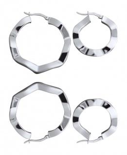 Gewellte Creolen Silber 925 flache Ohrringe 2, 1 / 2, 7 / 3, 7 / 4, 1 cm Ø