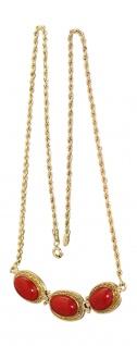 Collier Gold 750 mit Koralle - Goldkette - Korallenkette Designerkette Gold 18kt