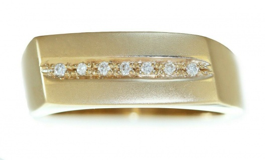 Massiver Ring Gold 585 mit Brillanten Goldring Damenring 14 Kt Diamantring