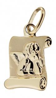Schutzengel Gold 585 Anhänger Raffael auf Schriftrolle Engel Goldanhänger 14 KT