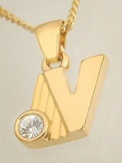 V - Schmuckset - Goldkette pl und Anhänger Buchstabe V vergoldet Panzerkette pl