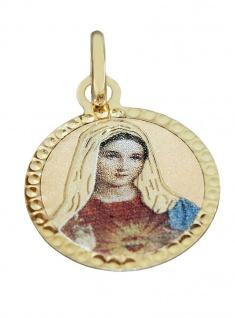 Anhänger Gold 333 Marienanhänger emailliert Kettenanhänger Hl. Maria
