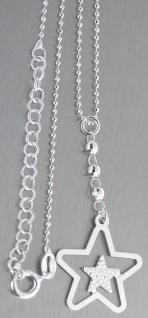 Feine Kugelkette Silber 925 mit Stern Anhänger Silberkette mit Sternchen Kette