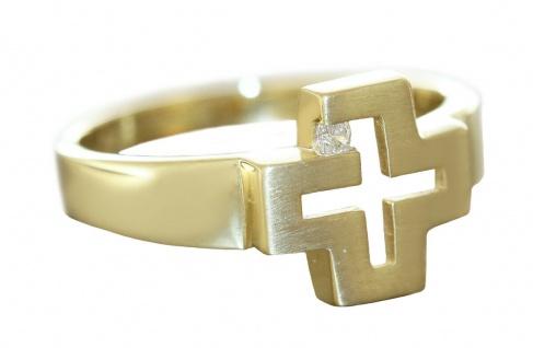 Ring Gold 585 Kreuz mit Zirkonia Designerring 14 Kt massiv Damenring RW 57