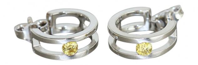 Kleine breite Creolen Weißgold 750 Ohrringe Gold Ohrstecker Weißgoldcreolen