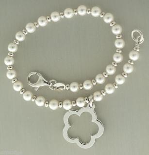 Armband Silber 925 Perlen Armkette Anhänger Blume Perlenarmband Karabiner Damen - Vorschau 3
