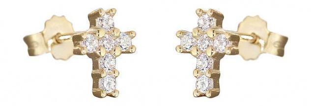 Kreuz Ohrstecker Gold 585 oder Weißgold 585 mit Zirkonias Goldohrstecker Kreuze