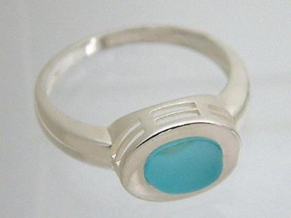 Silberring 925 - türkiser Cabochon Schmuckstein - trendiger Ring echt Silber