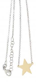 Silberkette 925 Kette und Anhänger Stern Silber vergoldet Glücksstern Sternchen