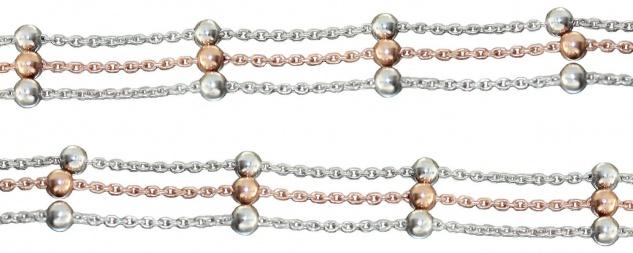 3-reihige Halskette od Armband Silber 925 bicolor Rotgold Kugelkette Silberkette
