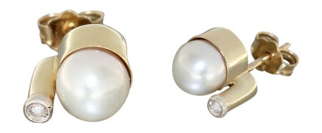 Klassischer Ohrschmuck Gold 585 mit echten Perlen Ohrstecker Goldohrringe
