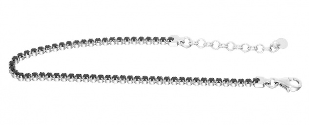 Feines Tennisarmband Silber 925 schwarze Zirkonias Armband Armkette Karabiner