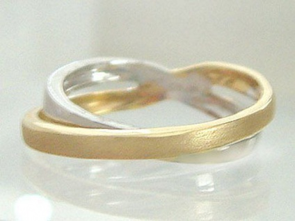 Designerring 750 bicolor - Ring Gold 18 kt - diagonal gekreuzt - Goldring massiv