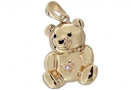 Teddybär - Anhänger Gold 585 mit Brillant - Goldanhänger Teddy 14 Karat