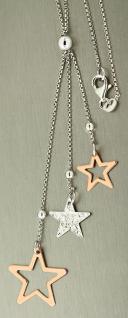 Y-Kette Silber 925 mit Sternchen Anhänger - Silberkette mit Stern Rotgold Kette