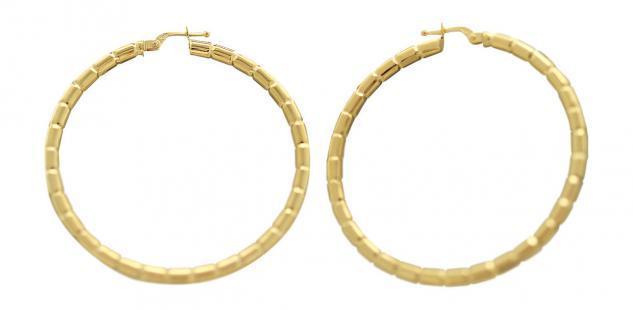 4, 6 cm große Creolen Gold 585 - Ohrringe - Goldcreolen mit Muster - Creole 14 kt