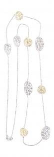 Kette Gold 750 bicolor 90 cm lange Halskette ovale Dekorglieder Collier 18 Kt
