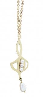 Goldkette 750 Perlen Collier massive Kette Gold 18 kt mit Anhänger Halskette