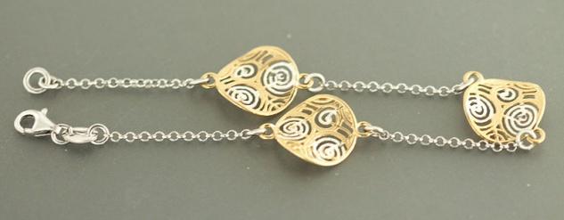 20 cm Armband Silber 925 massiv bicolor Silberarmband Armkette Silber Gold pl
