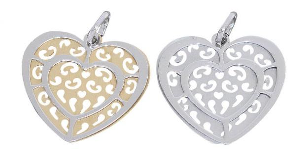 Herz Anhänger Silber 925 bicolor Silberherz vergoldet beweglicher Herz Anhänger