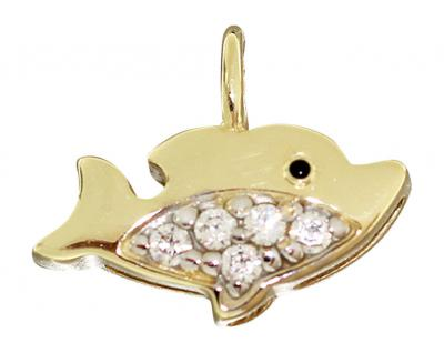 Anhänger Fisch Gold 750 Zirkonias kleiner Goldanhänger Fischanhänger 18 Karat
