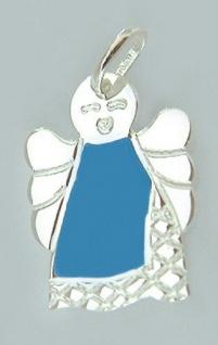 Mini Schutzengel Anhänger Silber 925 Silberanhänger Engel blau emailliert