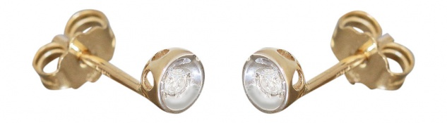 Ohrstecker Gold 585 mit Brillanten Goldohrstecker bicolor mit Brillant 0, 06 ct.