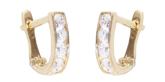 Kleine Ohrringe Gold 585 Zirkonias weiß Creolen Mädchen 14 Karat