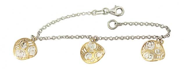 Top Design Armband massiv Silber 925 Silberarmband Armkette Gold Anhänger