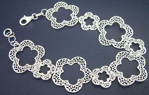 Blumenarmband Silber 925 massiv - breites Silberarmband - Armband - Armkette