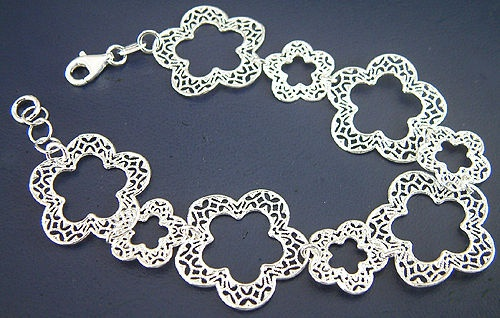 Blumenarmband Silber 925 massiv breites Silberarmband Armband Armkette