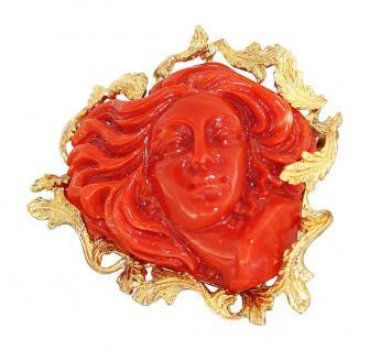 Brosche Gold 750 Koralle Damenantlitz Korallenbrosche Goldbrosche 18 Karat