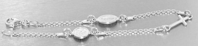 Armband Silber 925 Schutzengel Kreuz Hl. Maria Karabiner Armkette massiv - Vorschau 2