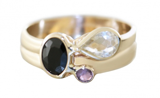 Ring Gold 585 Edelstein Rubin Saphir Citrin Goldring Damenring RW 56