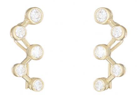 Designer Ohrschmuck Gold 585 mit vielen Zirkonias super Ohrhänger Goldohrringe