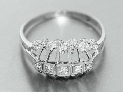 Edler Ring Weißgold 585 14 karat Gold, Goldring mit 5 Brillanten