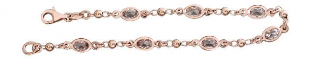 18 cm Silberarmband 925 Rotgold vergoldet m. Zirkonias Armband Armkette Rosegold