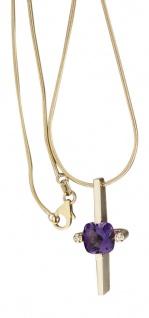 Collier - Schlangenkette - Kette Gold 585 und Anhänger mit Amethyst - Goldkette