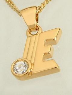 E Schmuckset Goldkette und Anhänger vergoldet Buchstabe E Panzerkette Gold