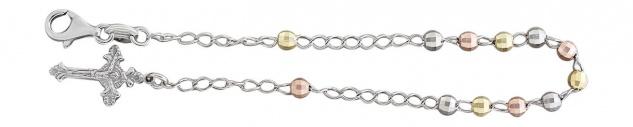 Rosenkranz Armband Silber 925 bicolor Silberarmband Rosario Kreuz Kugelarmkette