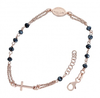 Rosenkranz Armband Silber 925 Rotgold vergoldet mit blauen Perlen Kreuz Maria