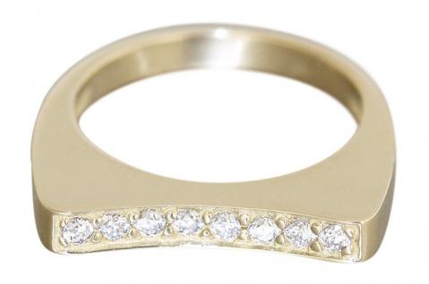 Edler Goldring 585 mit Zirkonias moderner Ring Gold 5, 4 gr. Damenring RW 54