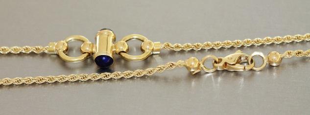 Goldkette 750 Lapis Lazuli 80 cm Kette Gold Lapiskette Walliskette massiv 23 gr