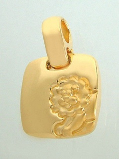 Sternzeichen Löwe Goldkette und Anhänger vergoldet Panzerkette Goldanhänger Gold