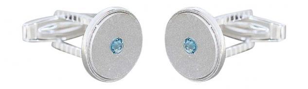 Manschettenknöpfe Silber 925 massiv mit hellblauen Zirkonias Cufflinks 10 gr.