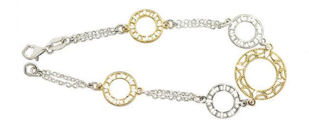 Massives Armband Gold und Silber 925 Silberarmband topmodische Silberkette