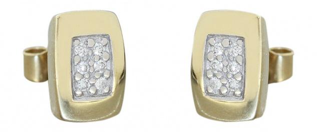 Ohrstecker Gold 585 mit 12 Brillanten Ohrringe Diamant Ohrschmuck 14 Kt