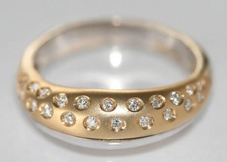 Massiver Goldring 585 Zweifarbengold Brillantring 0, 21 ct. Ring Gold Weißgold