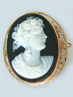 Antike Brosche Gold 585 mit Steincamee Deutsch um 1880 - Goldbrosche Gemme
