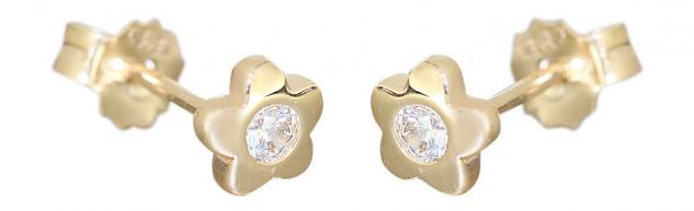 Blumen Ohrstecker Gold 585 Ohrringe Zirkonias Kinder Mädchen 14 Karat